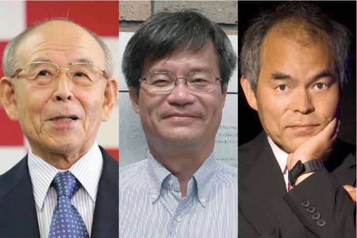 (LtoR) Isamu Akasaki, Hiroshi Amano and Shuji Nakamura won the 2014 Nobel Physics Prize for inventing the blue light-emitting diode (LED).