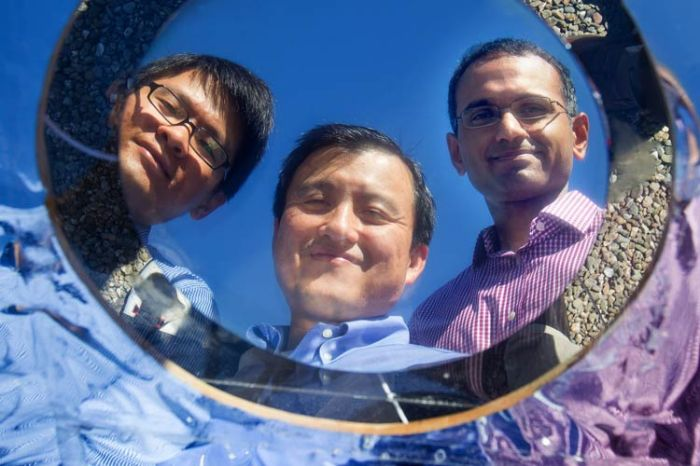 Doctoral candidate Linxiao Zhu, Professor Shanhui Fan and research associate Aaswath Raman are members of the team that invented the breakthrough energy-saving material.