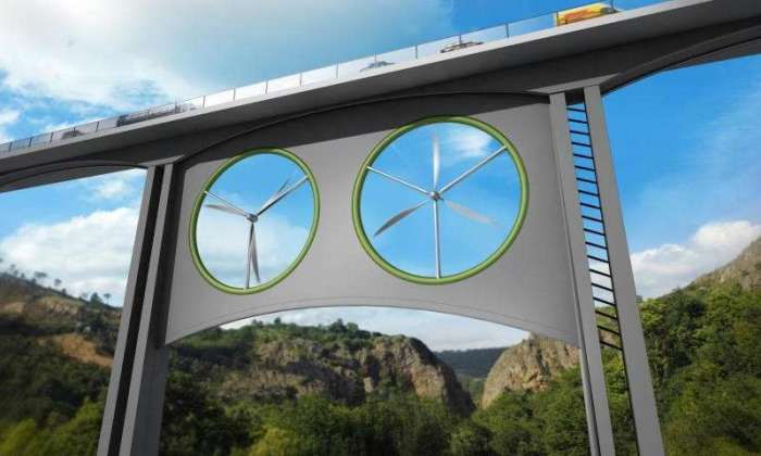 Illustration of two identical wind turbines installed in a viaduct. Credit: José Antonio Peñas (Sinc) Read more at: http://phys.org/news/2015-07-viaducts-turbines-renewable-energy-source.html#jCp
