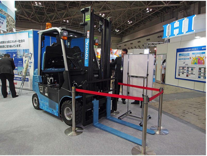 A Toyota hydrogen fuel cell forklift